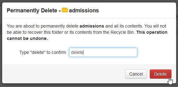 """Модальний діалог: Користувач повинен підтвердити дію видалення, фактично ввівши """"delete"""" («видалити»)."""