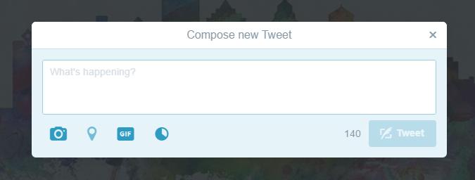 Twitter використовує обидва варіанти для виходу: натискання 'х' та натискання фону.