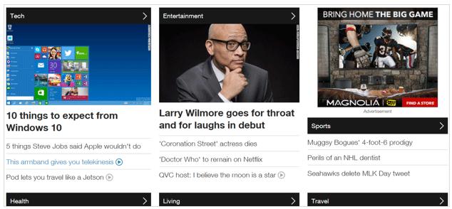 Ресурс CNN: Іконки стрілочок на цій сторінці сигналізують місця для кліків у дизайні, який є плоским в усіх інших відношеннях. Без стрілочок користувачі могли б не здогадатися клацнути на чорних прямокутниках.