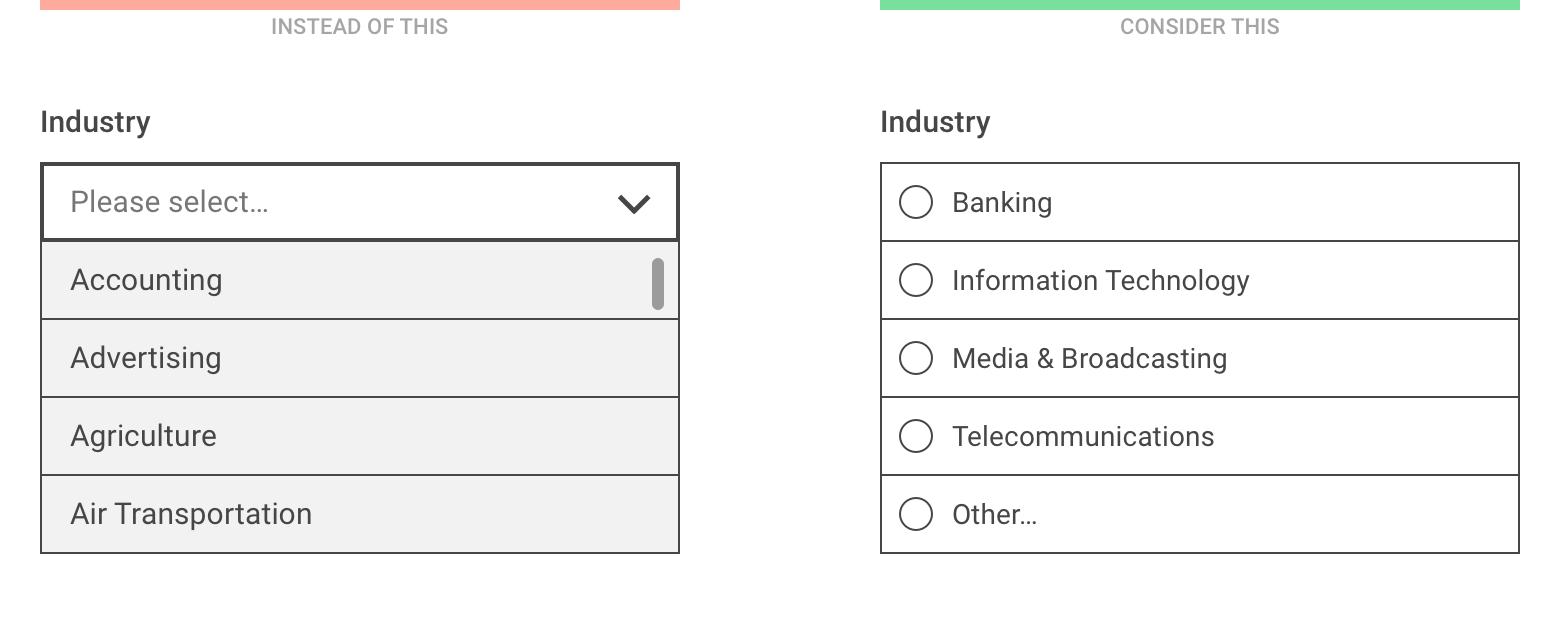 Альтернативы выпадающем меню для лучших (мобильных) форм