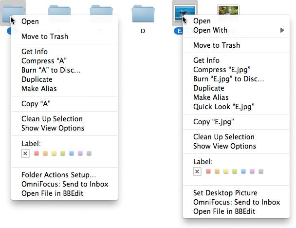 Виділення файлів різного типу та контекстне меню для них