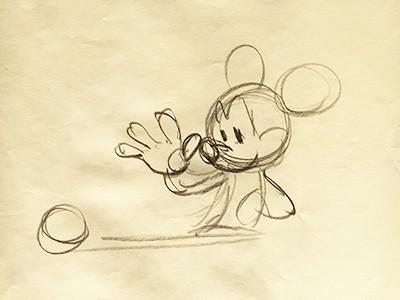 Розкрита долоня Міккі стає символом дії протягування вперед і хапання м'яча.