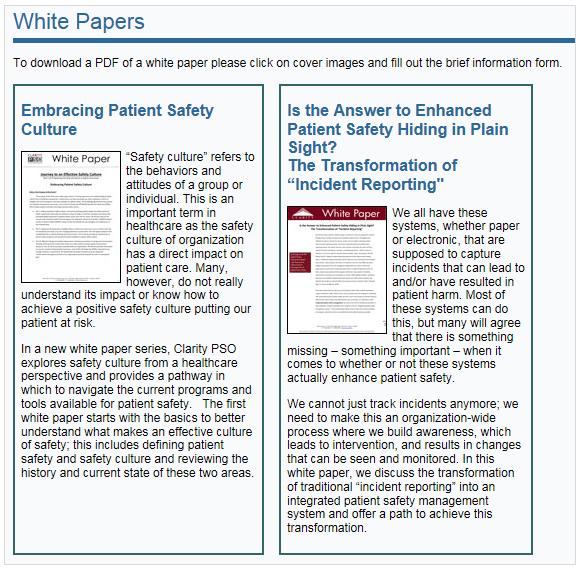 Ресурс Patient Safety and Quality Healthcare: Промахи на цій сторінці ведуть до плутанини. Синій заголовок не реагує на кліки. Зображення реагують на кліки, однак виглядають як статичні ілюстрації. У інструкції зверху сторінки пояснено, на що слід клацати – це виразна ознака провалу дизайну.
